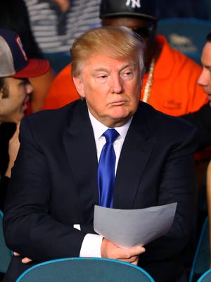 Donald Trump in attendance of the welterweight boxing fight between Floyd Mayweather and Manny Pacquiao at the MGM Grand Garden Arena