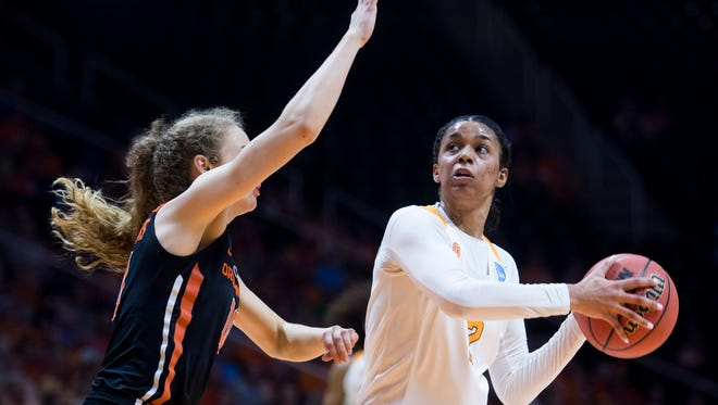 Tennessee's Evina Westbrook looks for an open shot while defended by Oregon State's Katie McWilliams in the second round of the NCAA Tournament on Sunday, March 18, 2018.