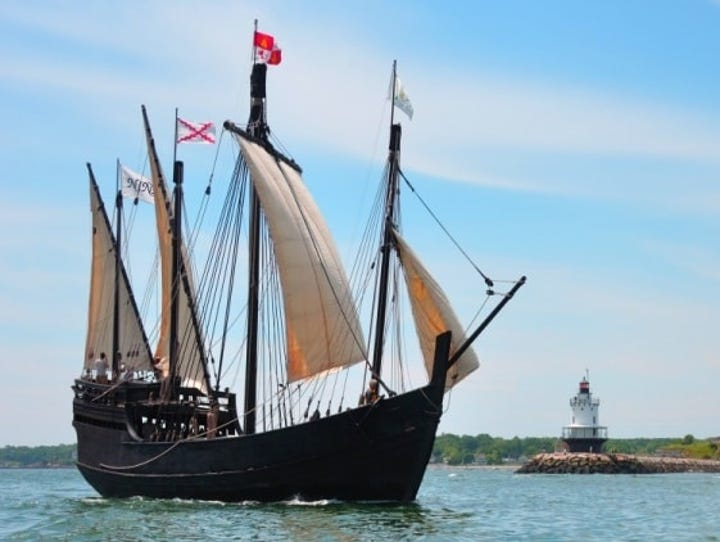 Replicas of the Nina and the Pinta are docked at Owensboro