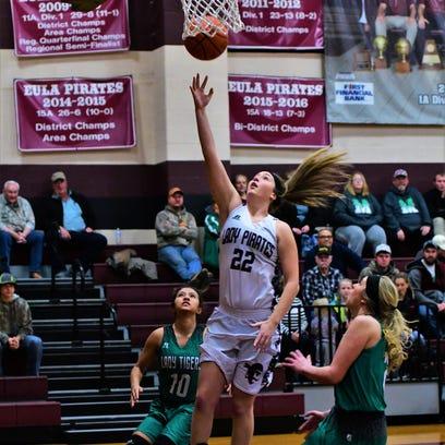 Eula's Megan Scott shoots a first-half layup as May's