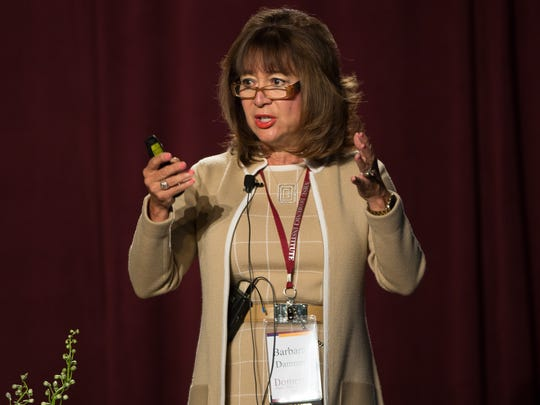 New Mexico Secretary of Higher Education Barbra Damron speaks on Thursday September 15, 2016, during NMSU's Domenici Public Policy Conference.