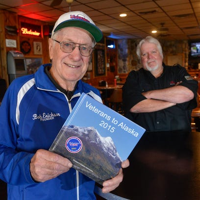 """Bob Erickson, 83, spent $10,000 of his own money to help fund an adventure trip for Vietnam veterans titled """"Veterans to Alaska"""" in 2015. This year, he's working with Pearl Lake Lodge owner Tom """"Rudy"""" Ruether to organize a motorcycle ride to raise funds for future trips. He was photographed Wednesday, April 27."""