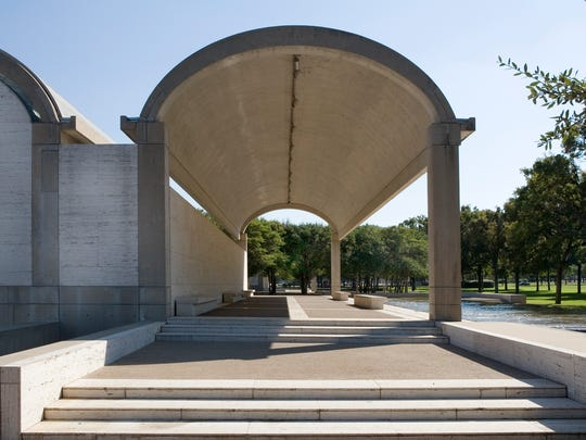 Colonnade on the north side, Kimbell Art Museum, Fort Worth, Texas, the creation of Louis Kahn, 1966–1972.