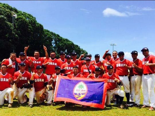 Guam's national baseball team, following their gold-medal