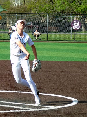 Tristin Achenbach pitches for the University of Montana Griz softball team at a recent game in Missoula.