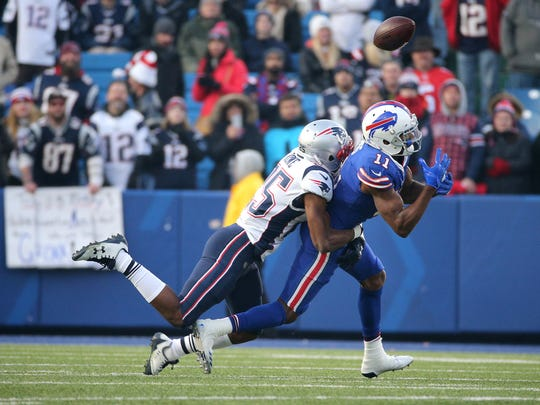 Bills receiver Zay Jones can't hang on to this pass in a 23-3 loss to the Patriots.