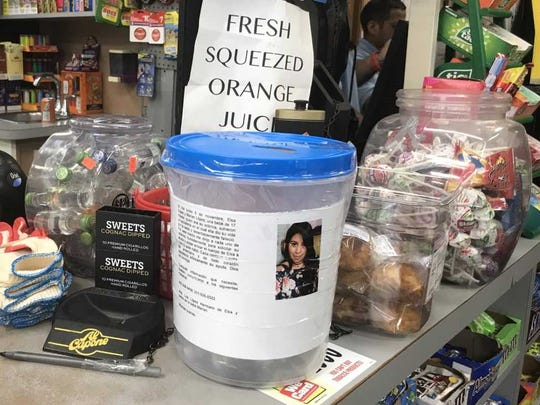 At the Banner Deli on Broad Avenue in Palisades Park, a collection jar seeks donations to pay to fly the body of Elsa Lopez Paredes back to her native Guatemala for burial. Lopez Paredes, 30, was fatally struck by a car as she crossed West Central Boulevard near Grand Avenue on Nov. 6.