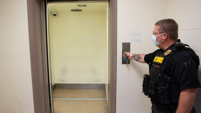 Shawnee County Corrections Department Sgt. Nate Vowinckel on Friday opened the door to an elevator used to transport inmates at the Shawnee County Courthouse. Work to modernize that elevator is to begin Monday.