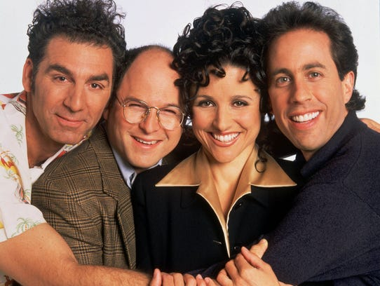 NBC 75th ANNIVERSARY -- SEINFELD -- NBC Series -- Pictured: (l-r) Michael Richards as Cosmo Kramer, Jason Alexander as George Costanza, Julia Louis-Dreyfus as Elaine Benes, Jerry Seinfeld as Jerry Seinfeld -- Broadcast Dates: (1990-1998).  --- DATE TAKEN: 2002  No Byline   NBC        HO      - handout ORG XMIT: PX69390