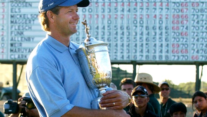 Retief Goosen celebrates winning the 2004 U.S. Open at Shinnecock Hills Golf Club on Long Island. The Open returns to historic Shinnecock in June for the fifth time.