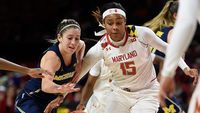 Maryland's Kiah Gillespie and Michigan's Katelynn Flaherty vie for a loose ball during the second half of the Terps' 83-70 win Thursday, Jan. 19, 2017 in College Park, Md.