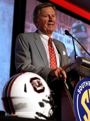 South Carolina coach Steve Spurrier speaks to reporters at SEC Media Days on July 14 in Hoover, Ala.