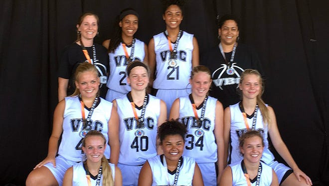 The VBC Eagles, a girls basketball team made up of rising 10th-graders from Augusta County and Staunton, won their division at the National Travel Basketball Association National Championships, held June 28 through July 1 in Myrtle Beach, S.C. Front row, left to right: MaKayla Kershner, Alayia Robinson, Kaitlyn Lobb; middle row, left to right: Hannah Grubb, Eva Frederick, Sarah Campbell, Savanna Crawford; back row, left to right: Coach Nicole Fauver, Amaya Lucas, Keziah Williams, Coach Tawana Lucas.