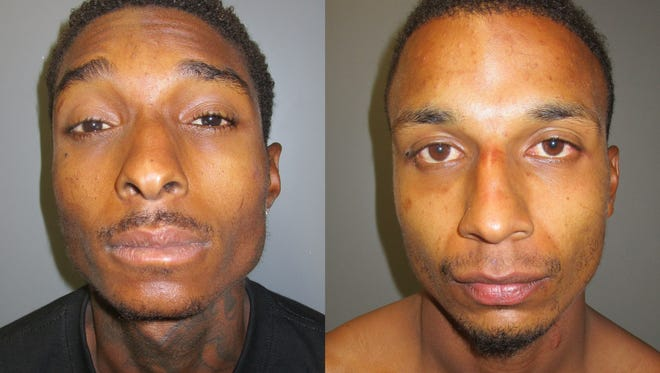 Raymond Stoker (left) and Jordan Bowyer are suspected of trespassing and using someone's pool to keep cool. They were identified as burglary suspects during the arrest.