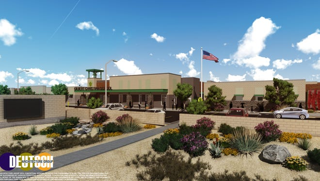An architectural rendering shows what a new private Gilbert Christian Schools elementary and middle school is expected to look like.