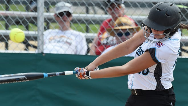 Delaware's Sydney Tyndall connects for a hit.