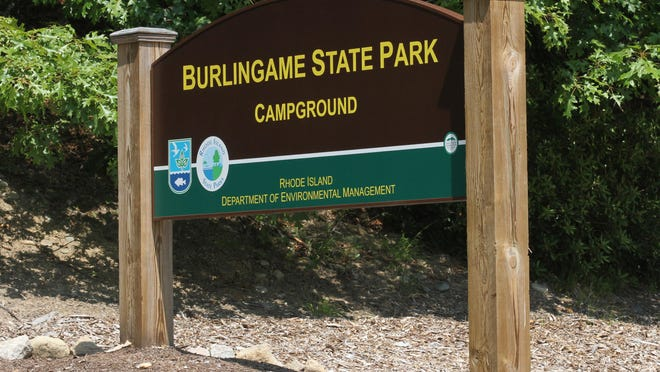 The sign at the entrance to the campground at Burlingame State Park in Charlestown.