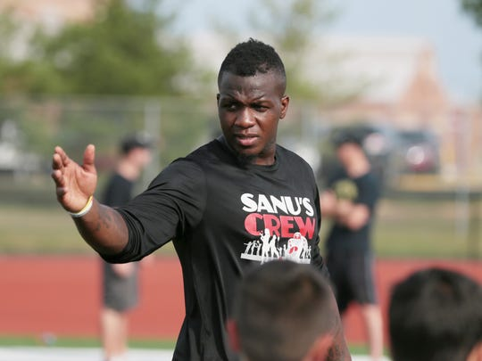Mohamed Sanu directs drills at Mohamed Sanu Football
