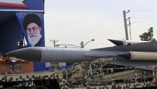 A missile displayed during Iran Army Day.