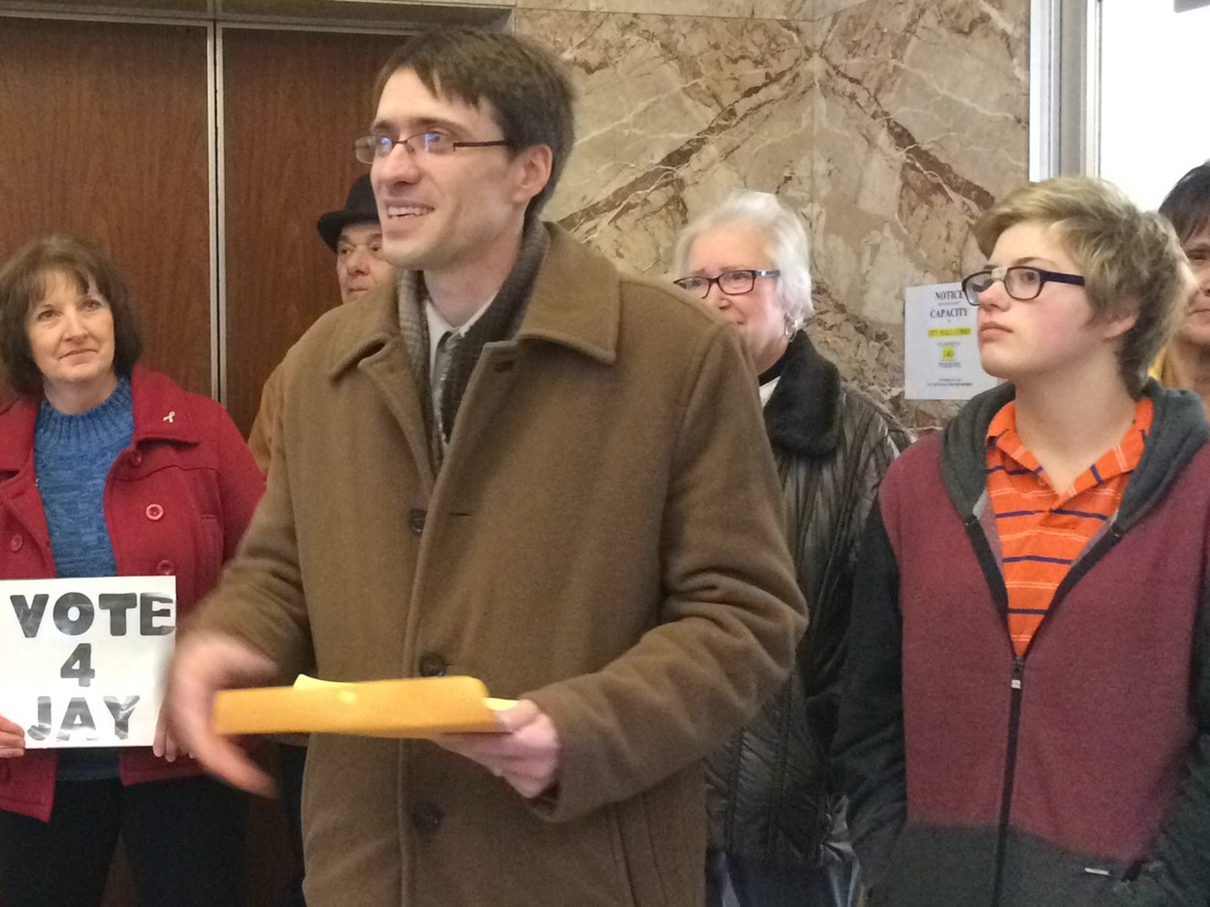 Jay Kronenwetter announces his bid to become mayor of Wausau in the City Hall lobby on Dec. 30, 2015.
