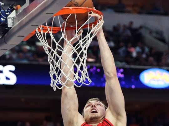 Apr 3, 2018; Dallas, TX, USA; Portland Trail Blazers guard Pat Connaughton (5) dunks  during the first half against the Dallas Mavericks at American Airlines Center. Mandatory Credit: Kevin Jairaj-USA TODAY Sports