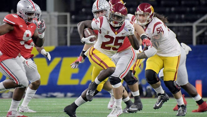 Southern California Trojans running back Ronald Jones II (25) in the 2017 Cotton Bowl at AT&T Stadium.