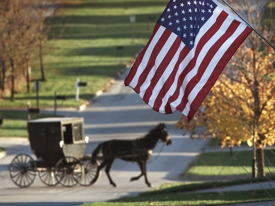 An Amish buggy moves through Kalona.