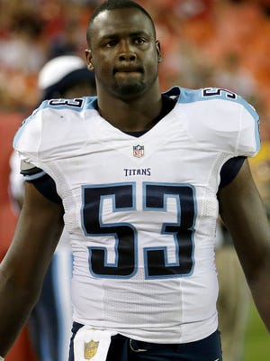 Tennessee Titans outside linebacker Deiontrez Mount (53) watches during the second half of a preseason NFL football game against the Kansas City Chiefs at Arrowhead Stadium in Kansas City, Mo., Friday, Aug. 28, 2015.