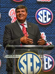 Mississippi Rebels head coach Matt Luke addresses the media during SEC football media day at the College Football Hall of Fame in Atlanta, Ga, Tuesday, July 17, 2018.