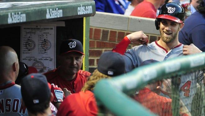 Bryce Harper leads baseball with 18 home runs.