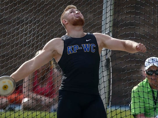 KP-WC's Nick Phelps throws the discus during 2A competition