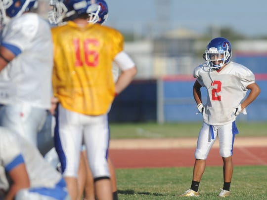 Cooper receiver Daelin Campos (2) waits for the rest of the offense to line up and run a play during practice Monday, Oct. 9, 2017 at Cooper High School.