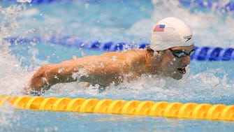 FILE – Carmel's Drew Kibler set a national record on the first night of the IHSAA boys swimming state finals.