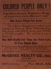 "Among memorabilia in Ray Stevenson's collection is an advertisement for housing for African-Americans.  It says ""Colored People Only!"" ""You have always wanted a home of your own. We have them."""