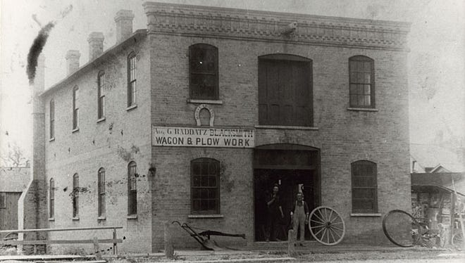 The August G. Raddatz Blacksmith shop was located at 230 Main St., Neenah. August wasa native of Germany. Hewas a horseshoer, blacksmithand wagon manufacturer.