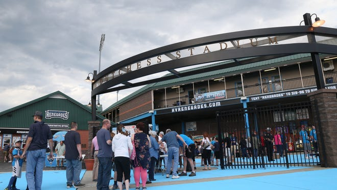Crowds line up to enter Dutchess Stadium in Fishkill for Thursday's home opener for the Renegades on June 21, 2018.