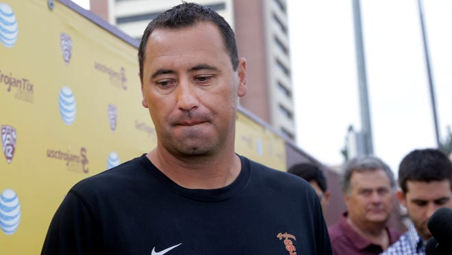 USC coach Steve Sarkisian says his focus on the Trojans when it should be on his personal well-being.