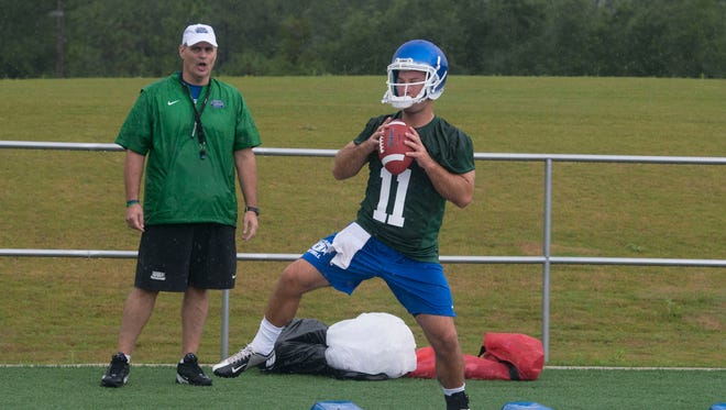 UWF football coach Pete Shinnick and quarterback Kaleb Nobles have been quite a tandem this season in helping the Argos to a 4-2 start.