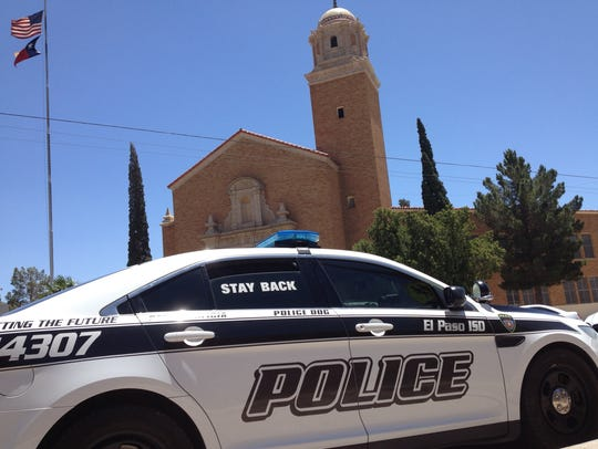 An EPISD police patrol car is parked Thursday outside