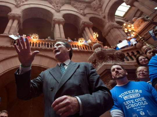 Senate Majority Leader John Flanagan, R-Smithtown, speaks during a rally for the Yonkers school district on Tuesday in Albany, N.Y.