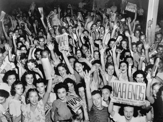 A shot of a joyous people in Jackson Square the celebrating at the end of World War II was taken by Oak Ridge photographer Ed Westcott.