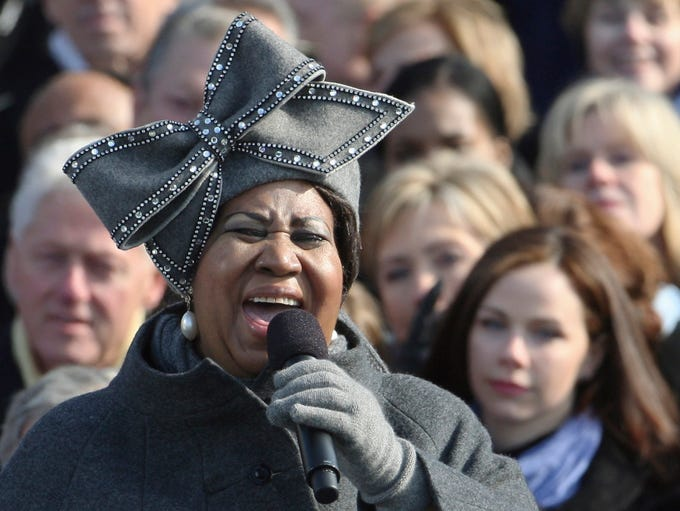 Aretha Franklin, wearing the hat that became an internet