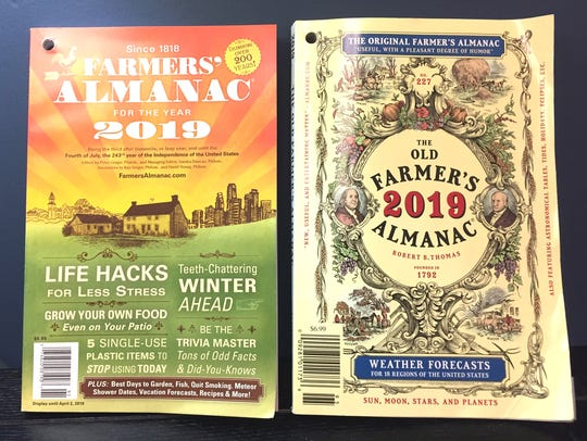 Rivals Farmers' Almanac, left, and The Old Farmer's