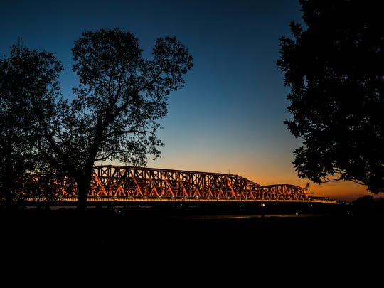 October 11, 2017 - The Big River Crossing over the Harahan Bridge was lit with Amazon orange Wednesday night as part of a civic call to action promoting Memphis as the location for Amazon's new second headquarters.