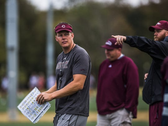 November 1, 2017 - Tommy Miller, interim coach for Collierville High School, gets ready to run a drill during football practice at Johnson Park in Collierville on Wednesday. The team is competing in a playoff game without coach Mike O'Neill, who has resigned in order to begin cancer treatments.
