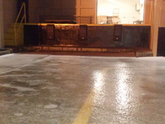 The ice in front of the Citizen-Times office in downtown Asheville early Tuesday.