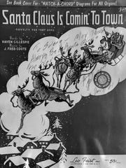 "The sheet music to ""Santa Claus Is Comin' To Town,"""