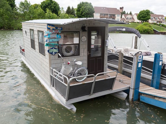 The floating office of Michigan Boat Rentals is seen