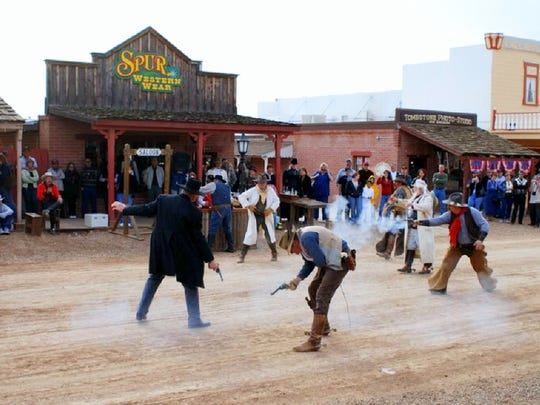 A re-enactment of the Gunfight at the OK Corral.