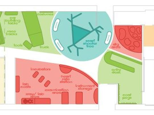 Floor plans for the coming Mighty Children's Museum which include the various planned exhibits.